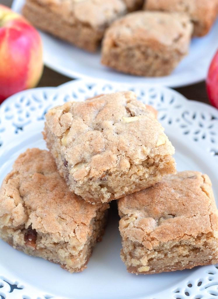 Apple Cinnamon Nut Blondies on a plate