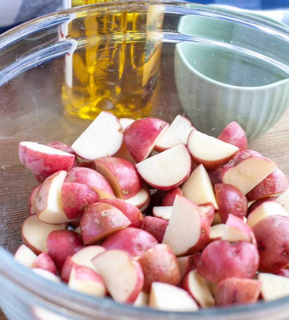 Red potatoes olive oil and spices