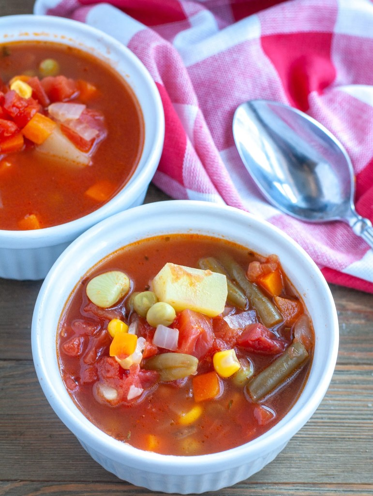 vegetable soup in bowls
