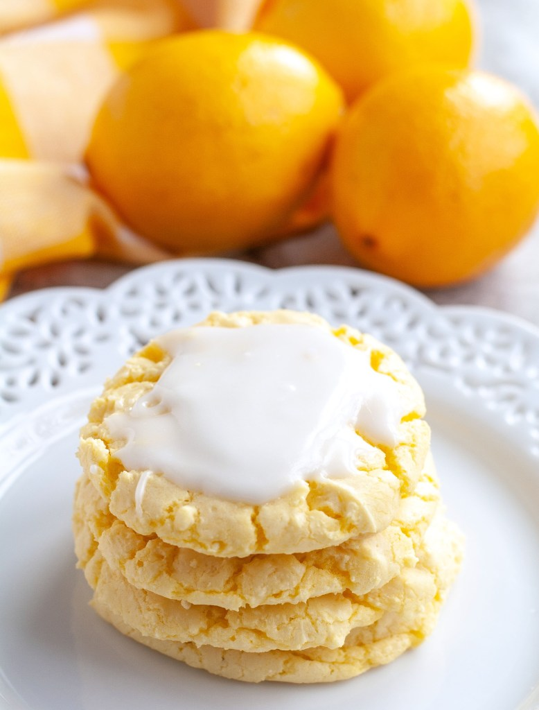 Lemon Cake Mix Cookies staked on plate