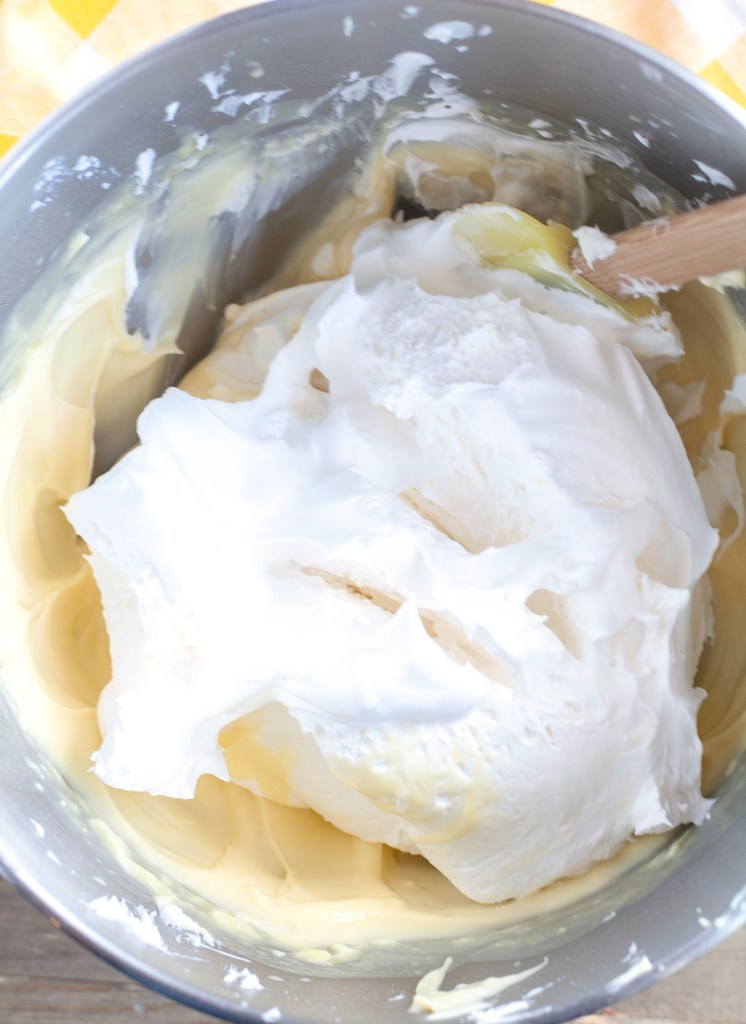 Pudding and Cool Whip in mixing bowl