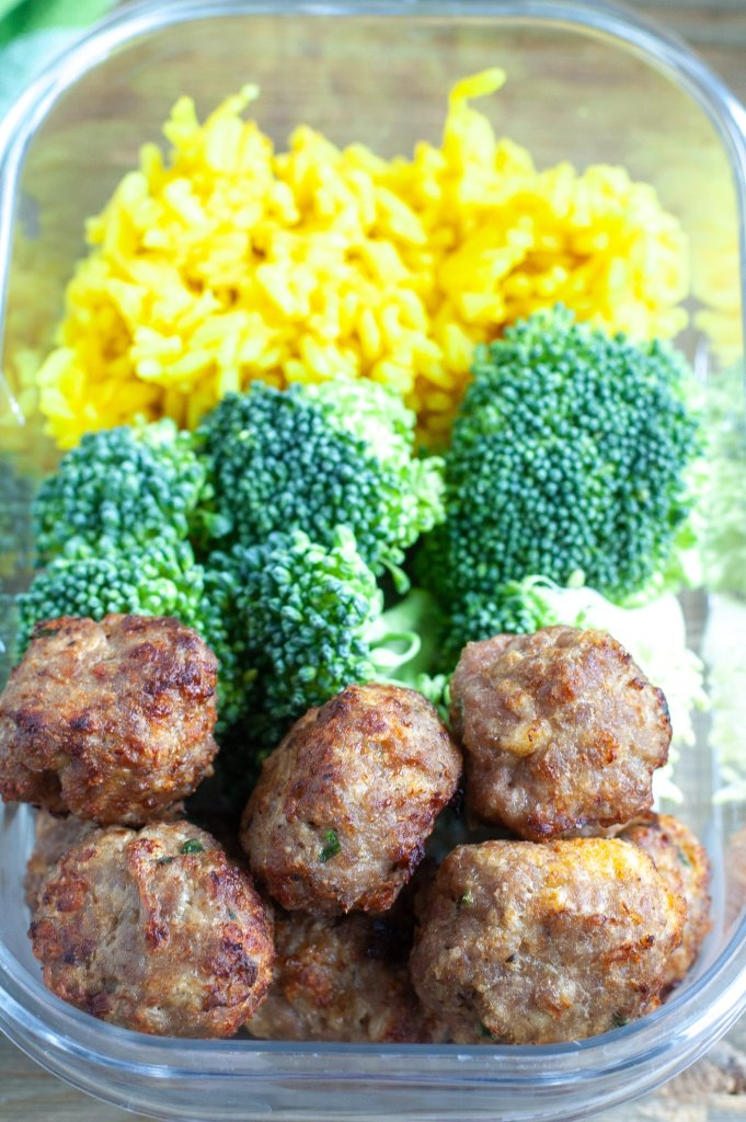 Turkey meatballs, broccoli, yellow rice meal prep