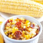 Bowl with corn and bacon.