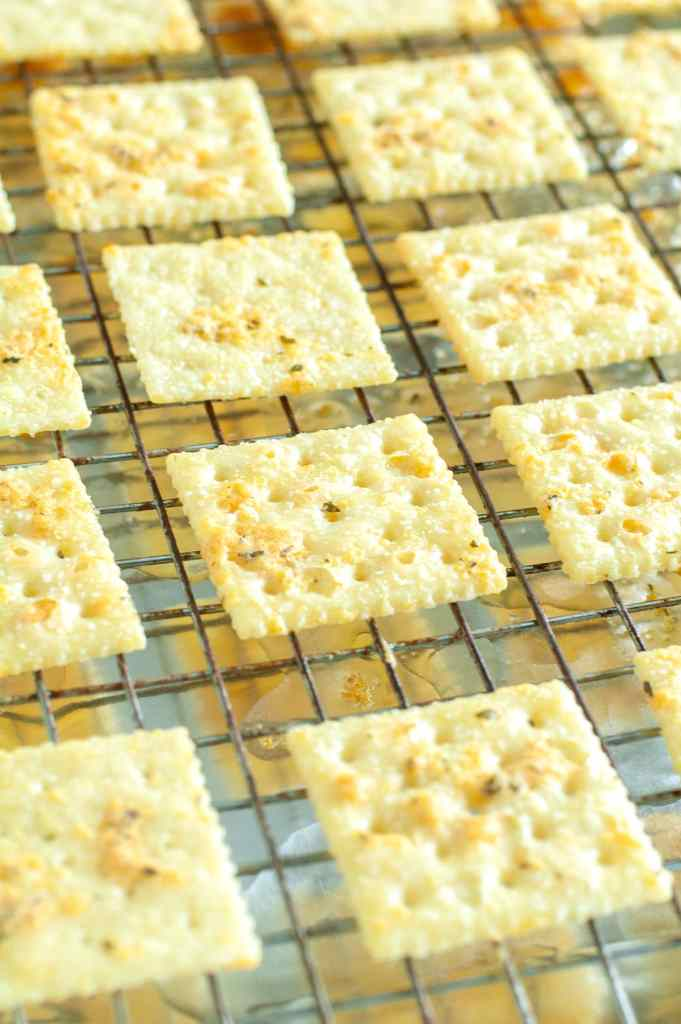 Ranch crackers cooling on a wire rack.