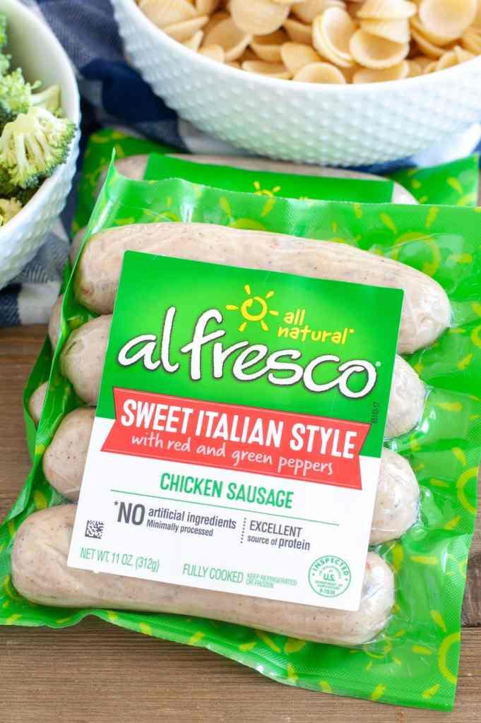 Package of al fresco Sweet Italian Style chicken sausage