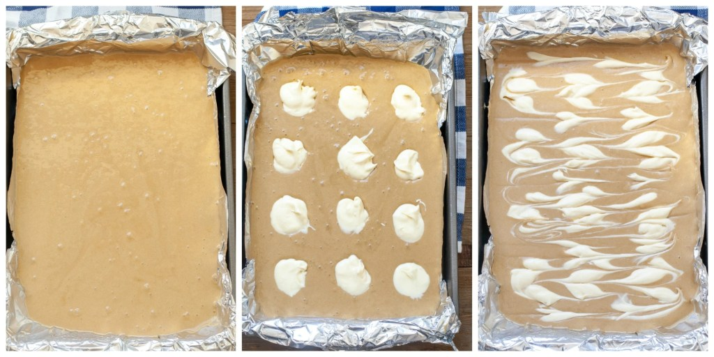 One picture of batter in a baking pan, next picture topped with cream cheese, third picture marbled cream cheese blondies
