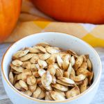 Bowl with pumpkin seeds.