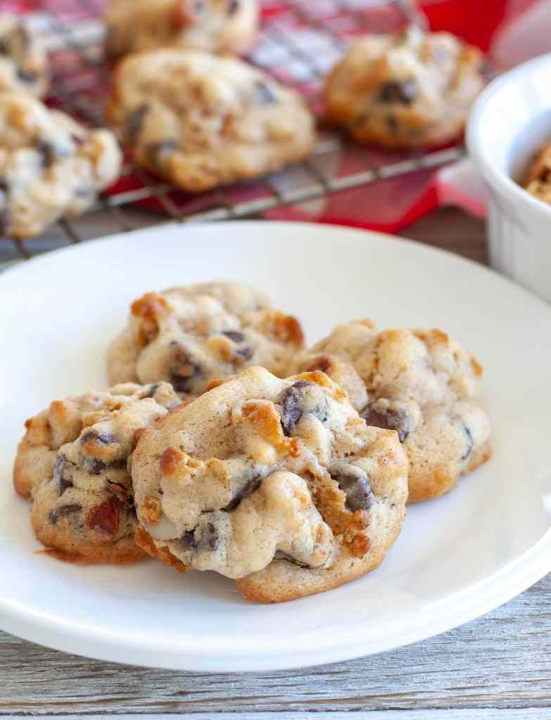 Cranberry chocolate chip cookies on a plate