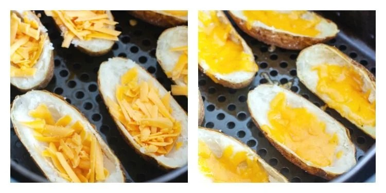 potato skins in air fryer with shredded cheese, potato skins in air fryer with melted cheese