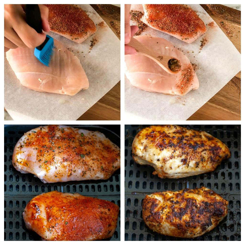 Chicken breast with seasoning in the air fryer