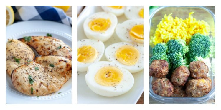 Pictures of air fried chicken breasts, air fried boiled eggs and air fried turkey meatballs