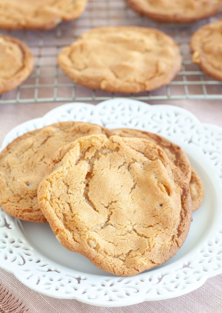 Butterscotch cookies on a white plate
