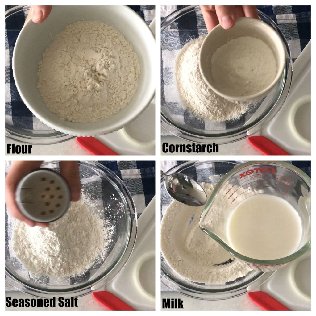 Flour, cornstarch, salt, milk