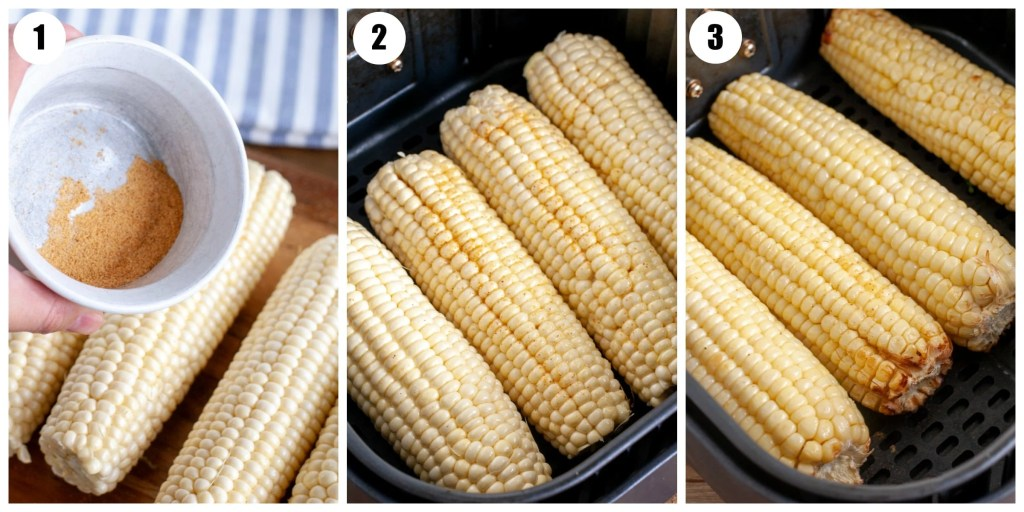 corn in air fryer cooked and then cooked