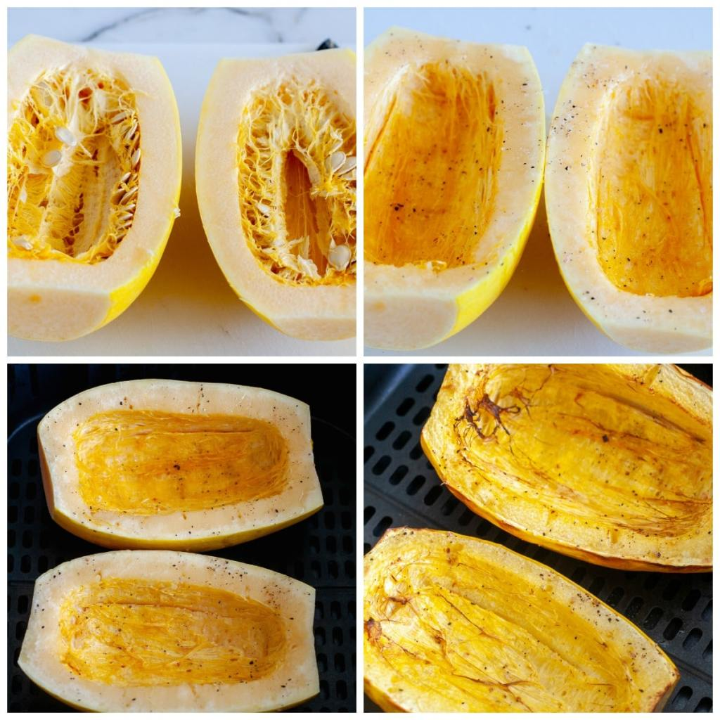 spaghetti squash cut in half, in the air fryer and roasted