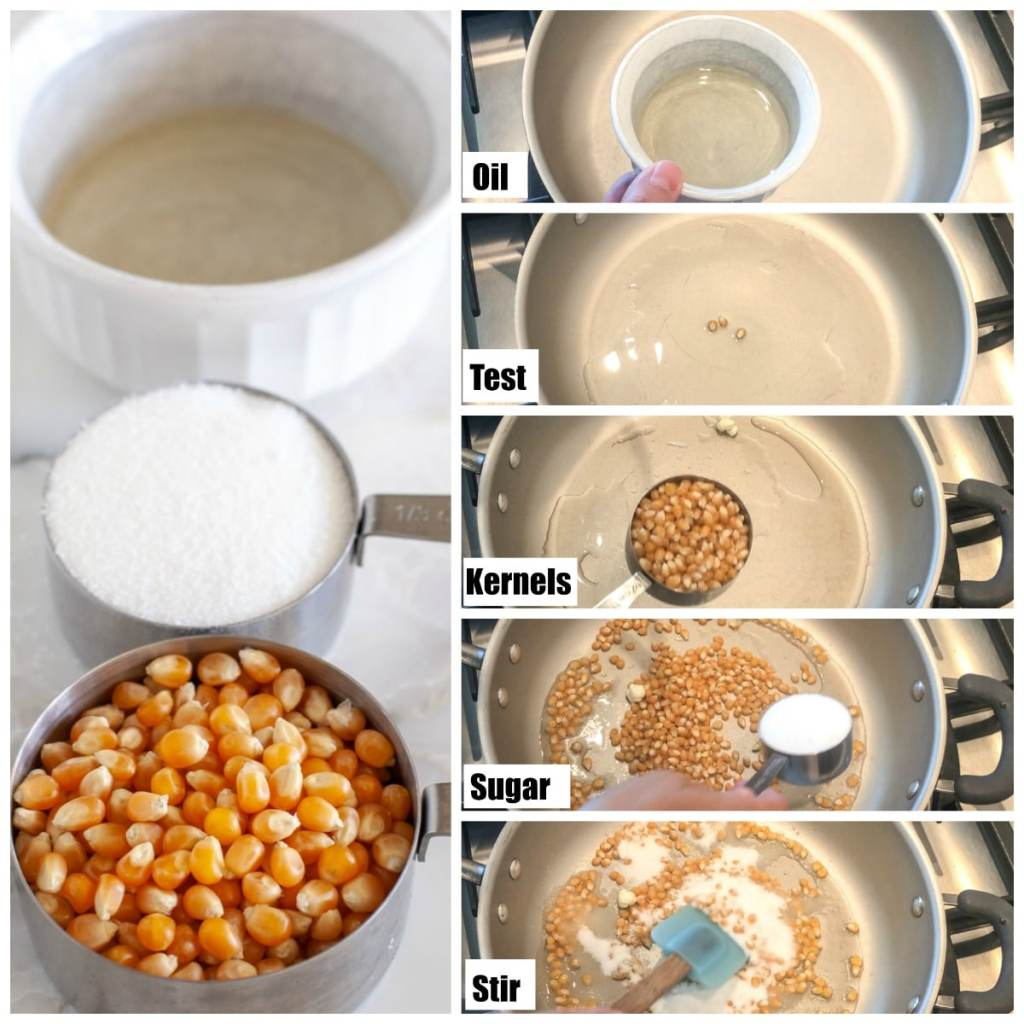 Oil, Popcorn kernels, sugar in a pan