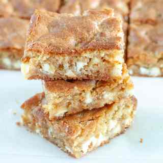 Blonde Brownies stacked on each other