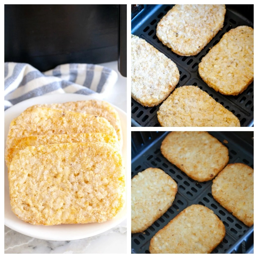 Frozen hash browns on a plate and then cooked in air fryer