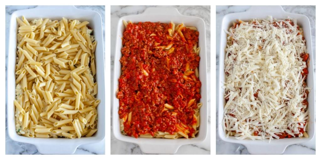 Casserole dish with pasta, sauce and cheese