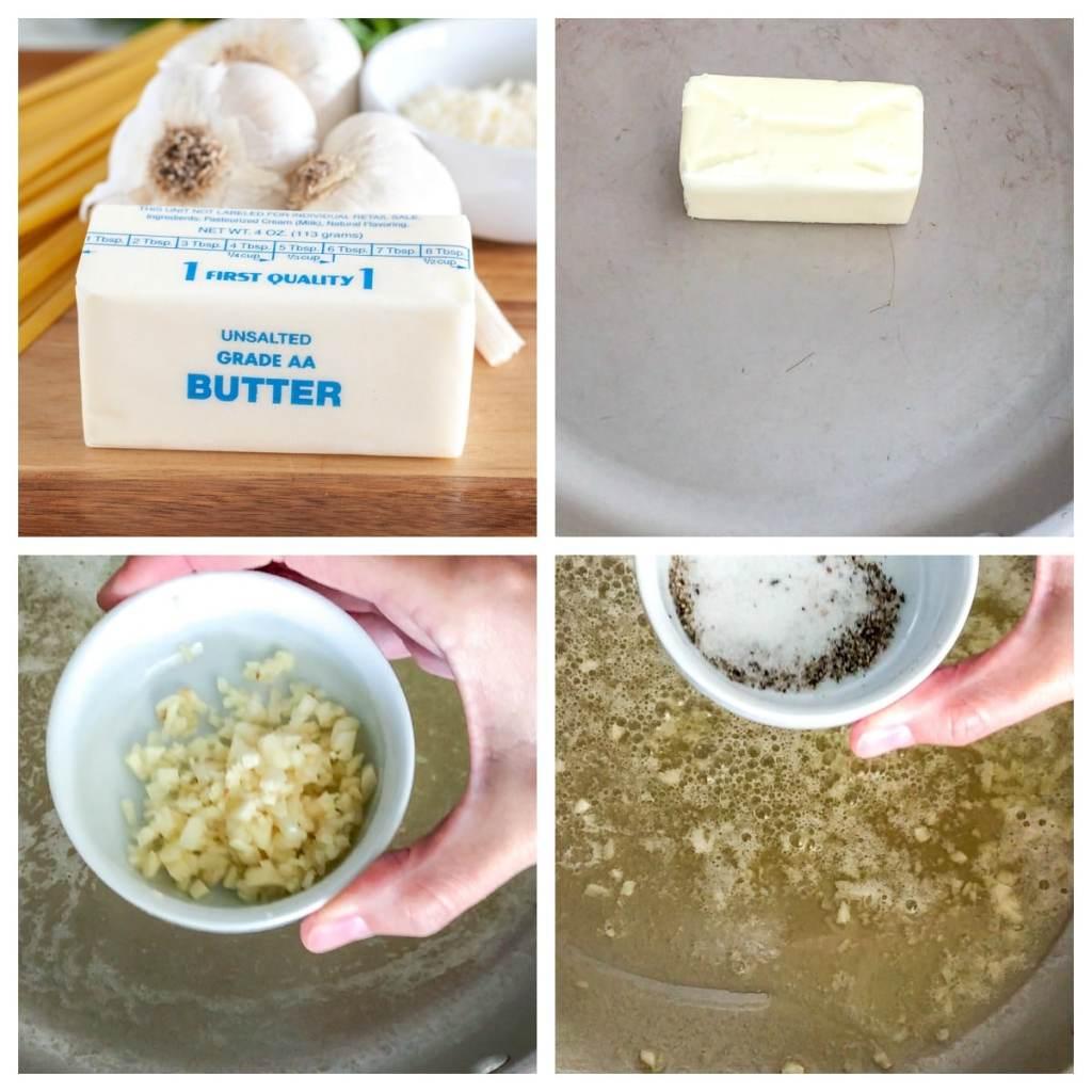 butter, garlic, salt and pepper