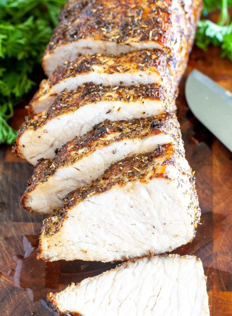 Pork loin sliced