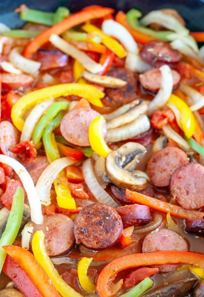 Sausage, peppers and onions in skillet
