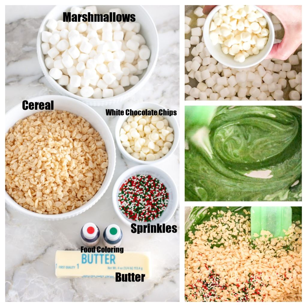 Marshmallows, butter, cereal, chocolate chips, sprinkles, food coloring