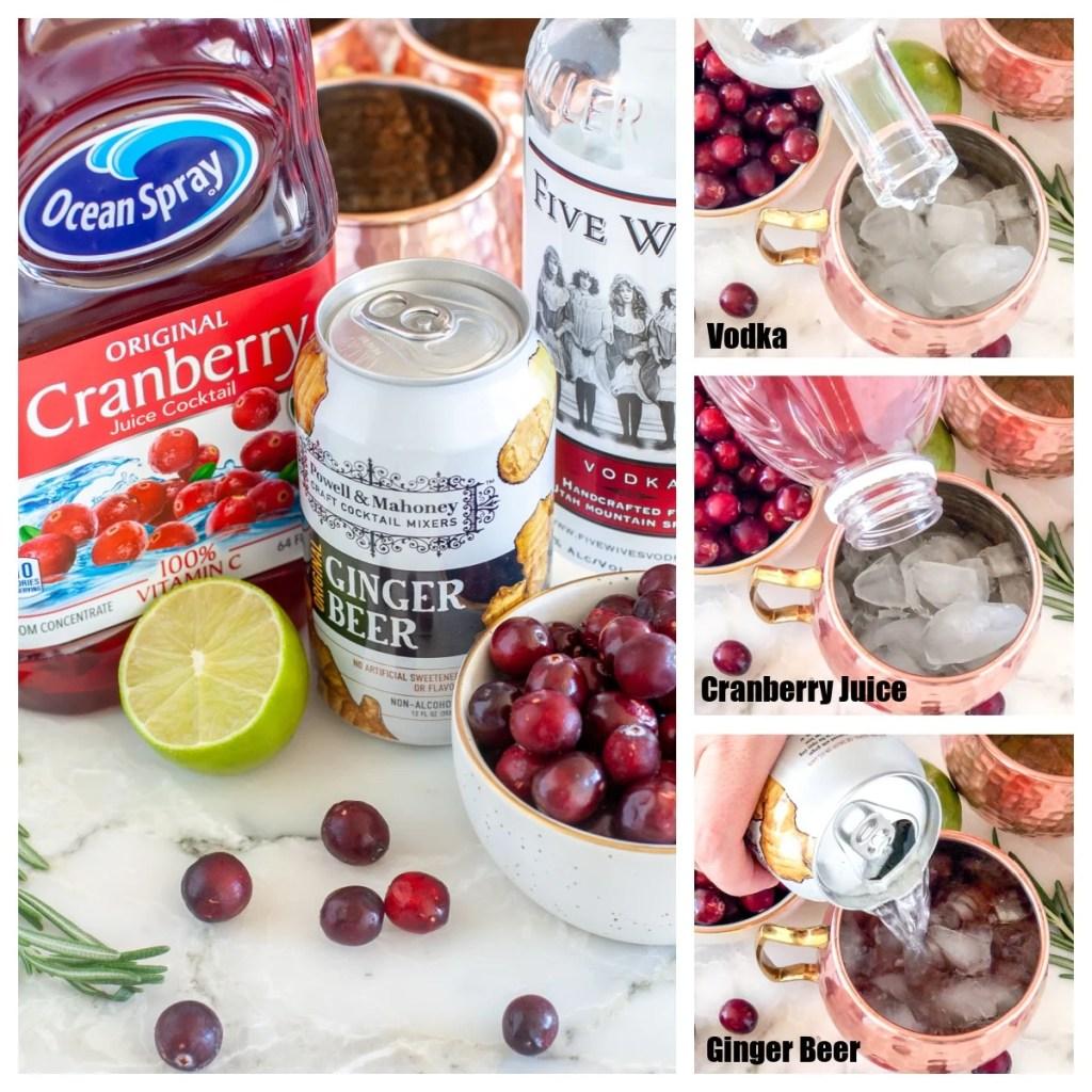 Cranberry juice, lime, vodka, ginger beer