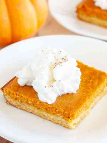 Gooey Pumpkin cake on a plate