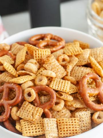 Bowl of cereal snack mix.