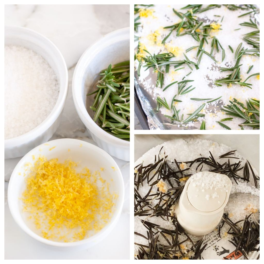 Salt, lemon zest and rosemary in a bowl
