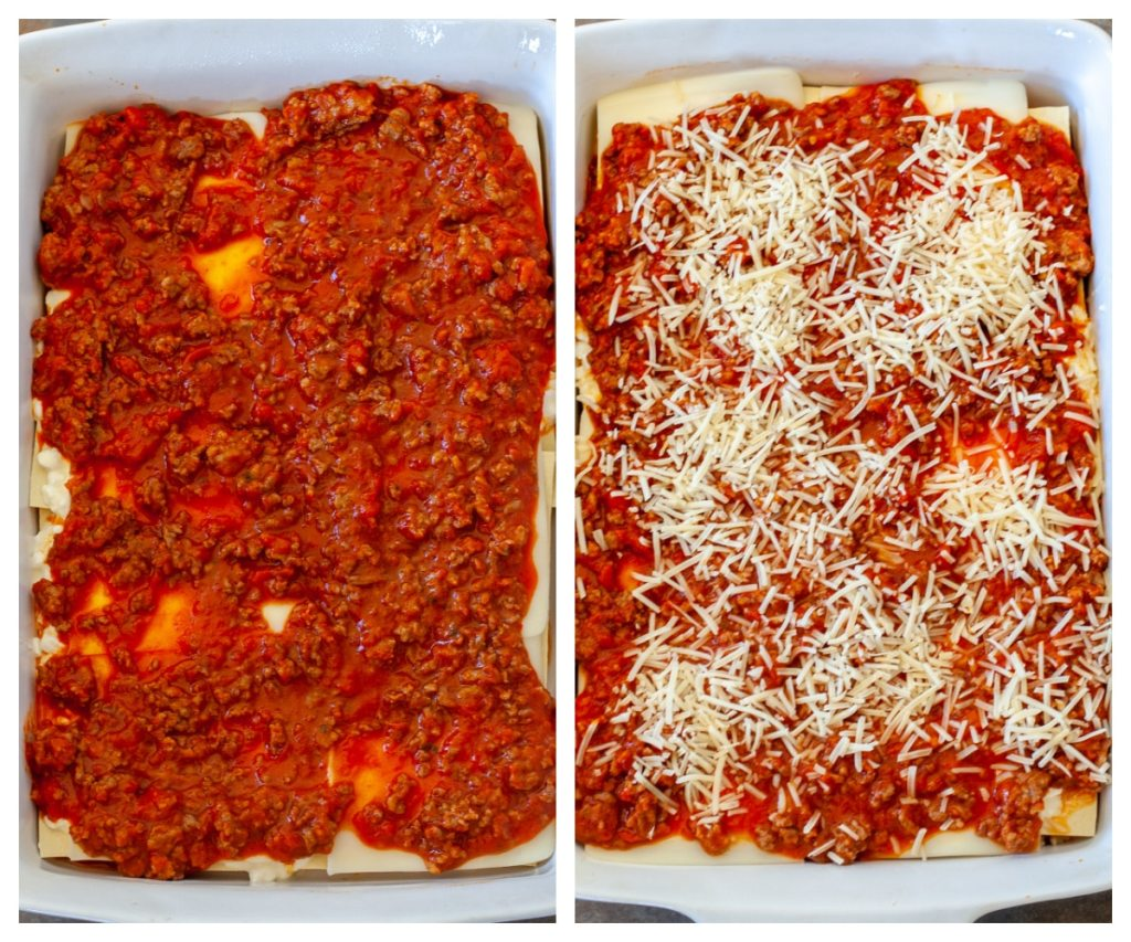 Layer of marinara sauce and shredded Parmesan cheese