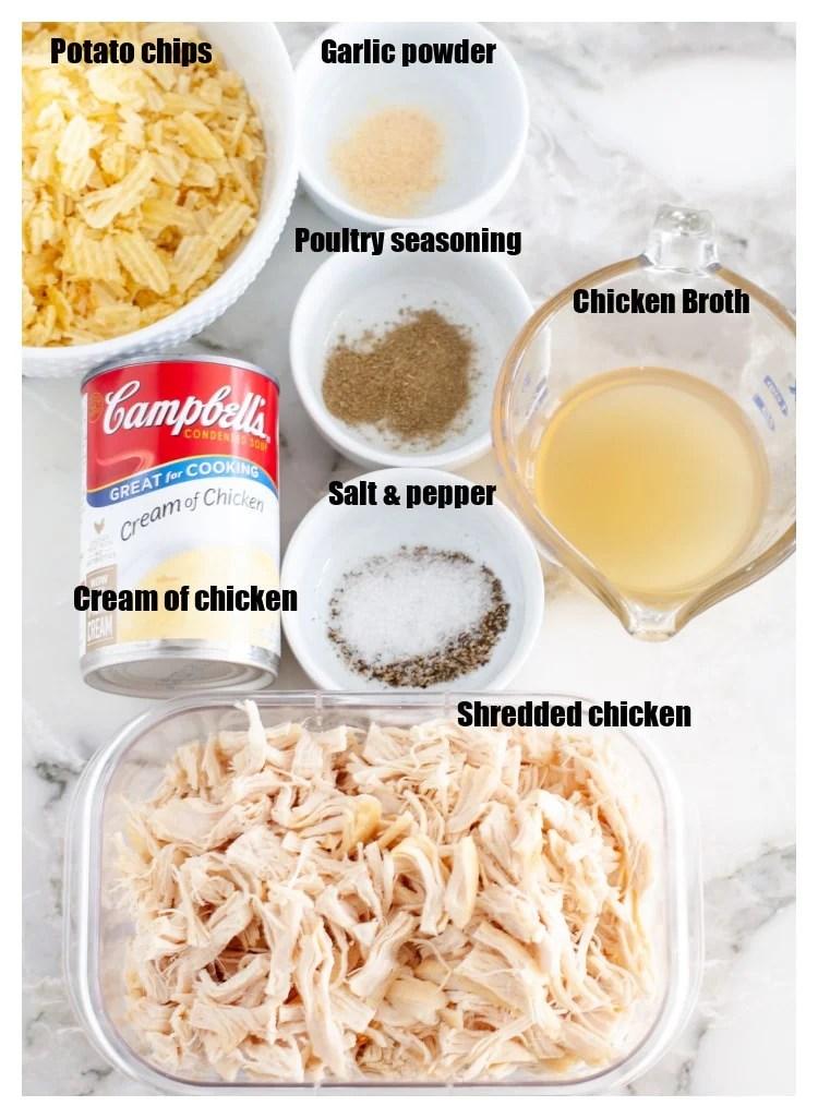 Bir kase patates cipsi, pişmiş tavuk, et suyu, tavuk kreması, baharat.