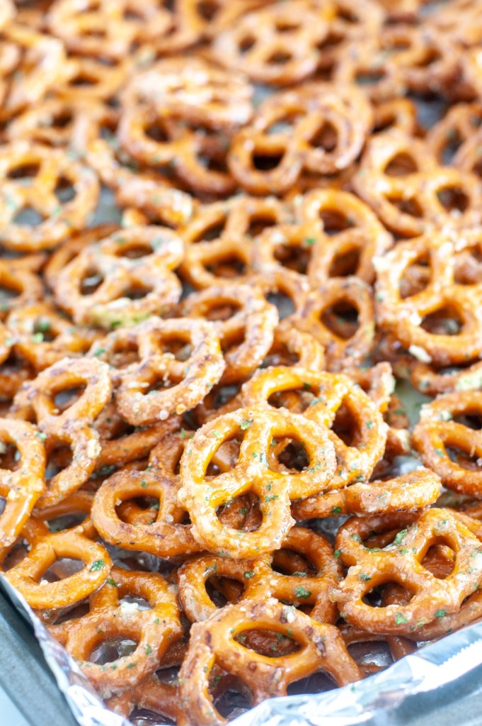 Pretzels on baking pan