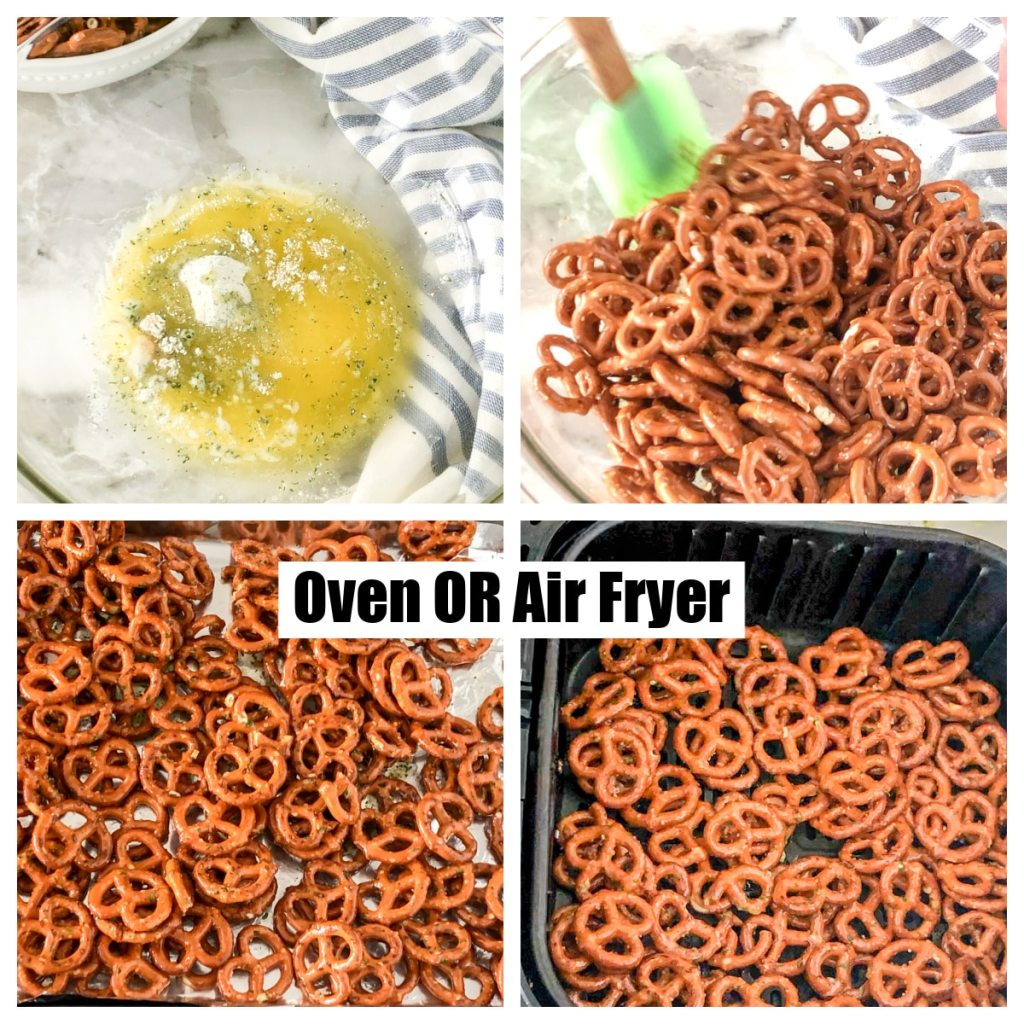 Spices and butter in a bowl, pretzels on pan and in air fryer.