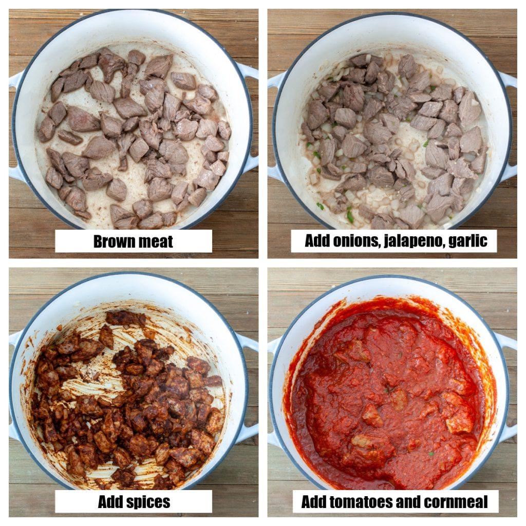 Sığır eti, baharat ve domatesli tencere.