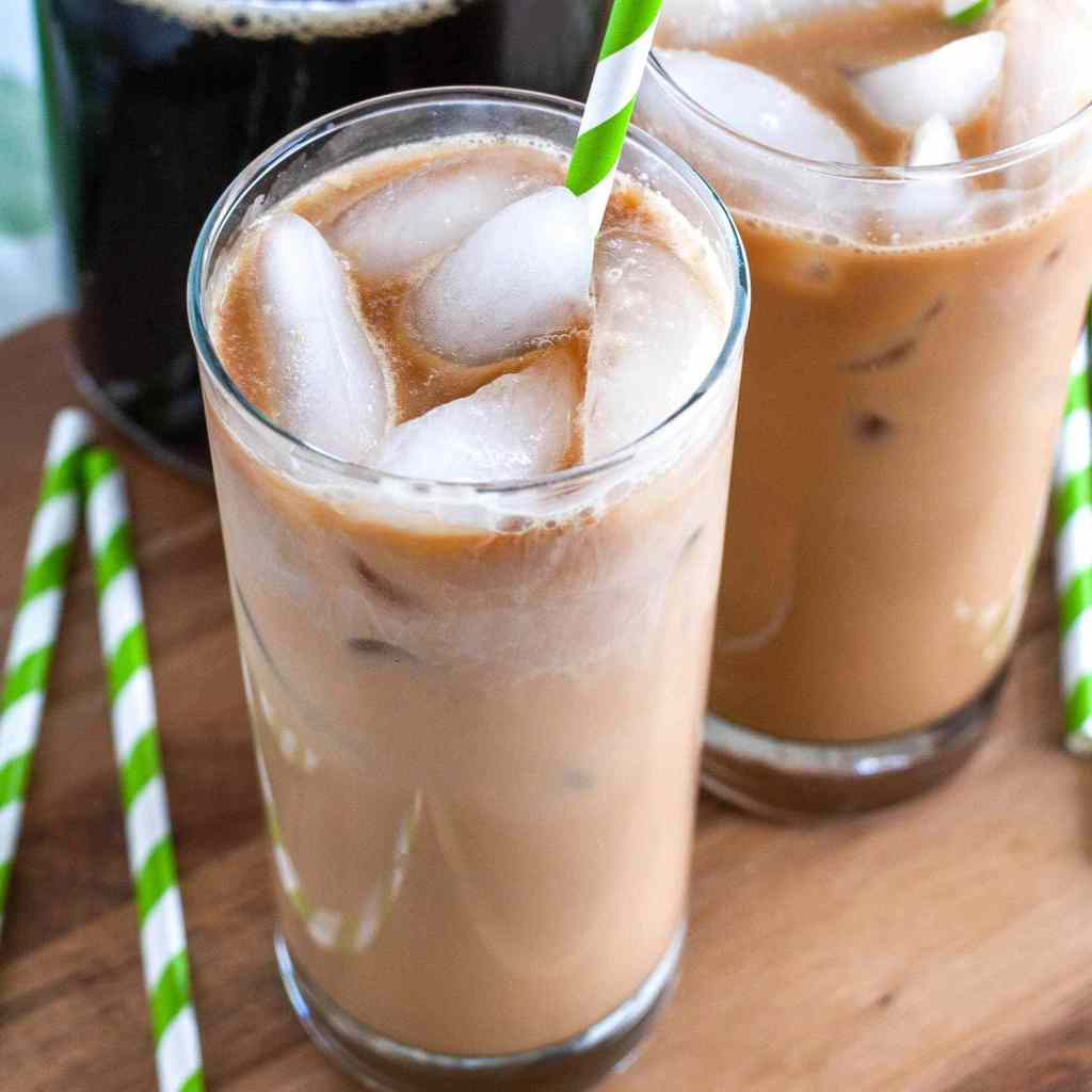 Glass of iced latte.