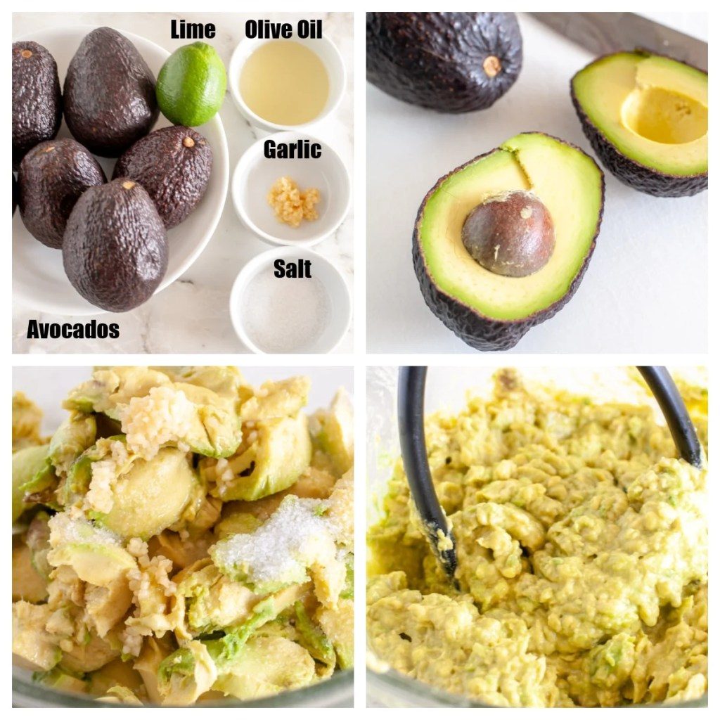 Bowl of avocados, lime, oil, garlic and salt.