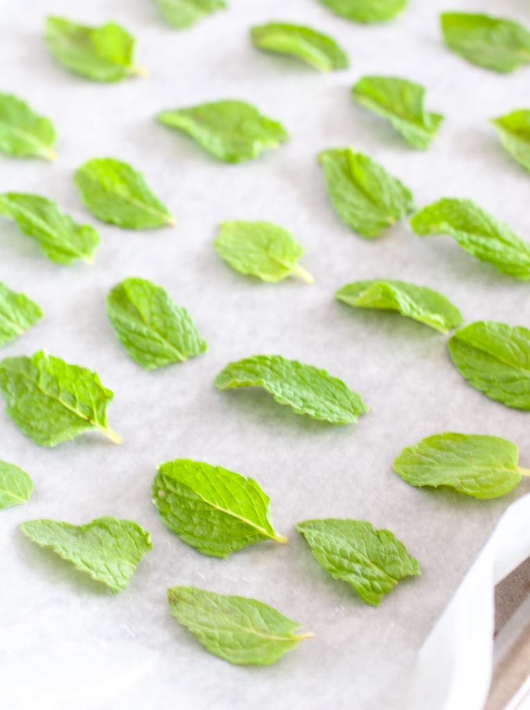 Mint leaves on parchment on a baking sheet.