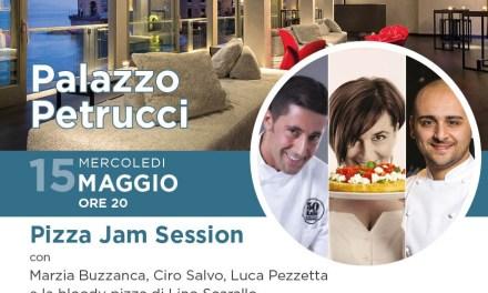 Ieri sera la Jam session di pizza con bollicine e mixology: Marzia Buzzanca, Ciro Salvo e Luca Pezzetta a Palazzo Petrucci per Wine&Thecity