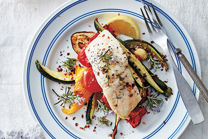 One Pan Roasted Fish & Vegetables
