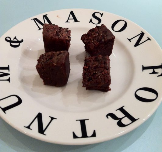 Paul A. Young Brownies on a Fortnum and Mason Plate