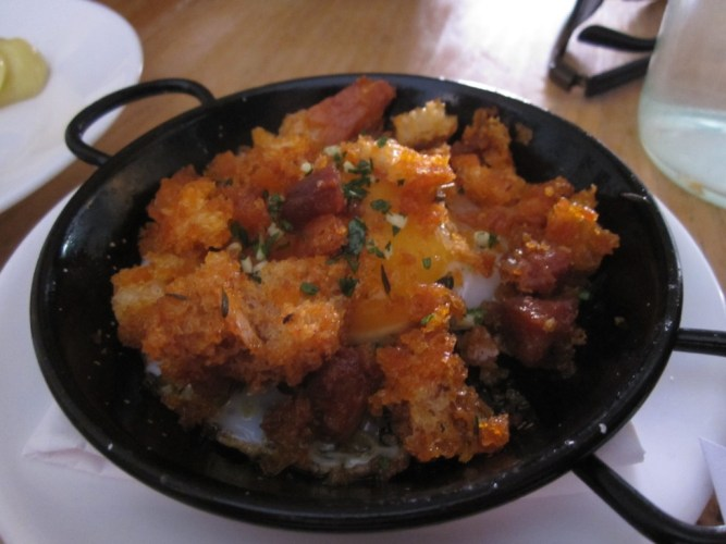 Duck Egg with Chorizo Migas, Bravas, Bristol
