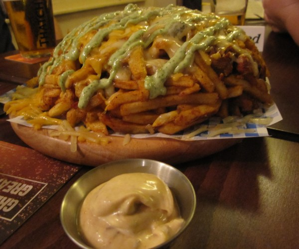 Pile of Dirty Dirty Fries at the Hobgoblin Pub, Bristol