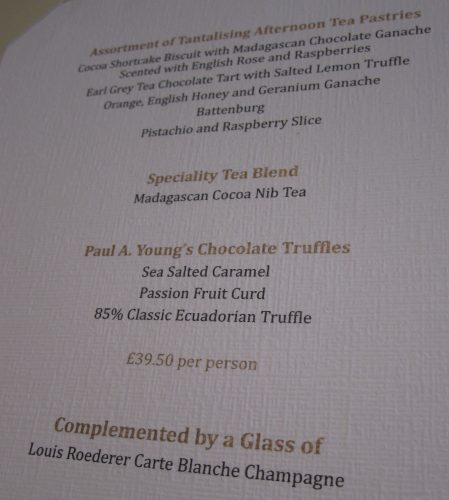 Chocolate Afternoon Tea Menu