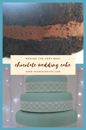 Chocolate Wedding Cake with Turquoise Icing and Vintage Lace