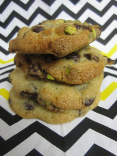 Dark Chocolate, Pistachio and Smoked Sea Salt Cookies