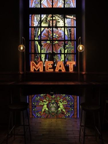 Meat Stained Glass Window at MEAT Mission, London