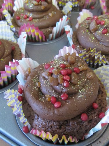Decorated Nutella Fudge Cupcakes with Nutella Frosting
