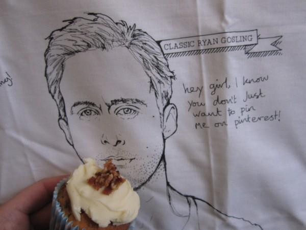 Ryan Gosling Tea Towel Eating a Cupcake